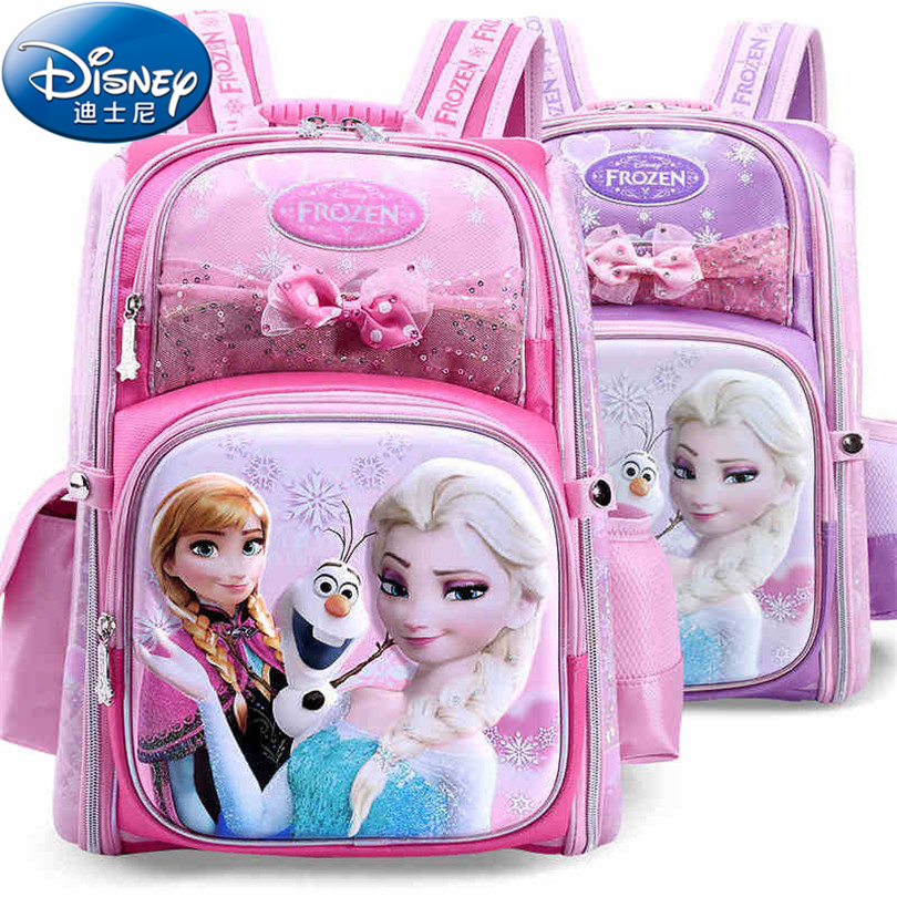 Disney 2018 Frozen&Snow White Protect the Spine Backpacks Fashion Schoolbag Kids Backpack Kid School Bags for Girls Grade 1-4