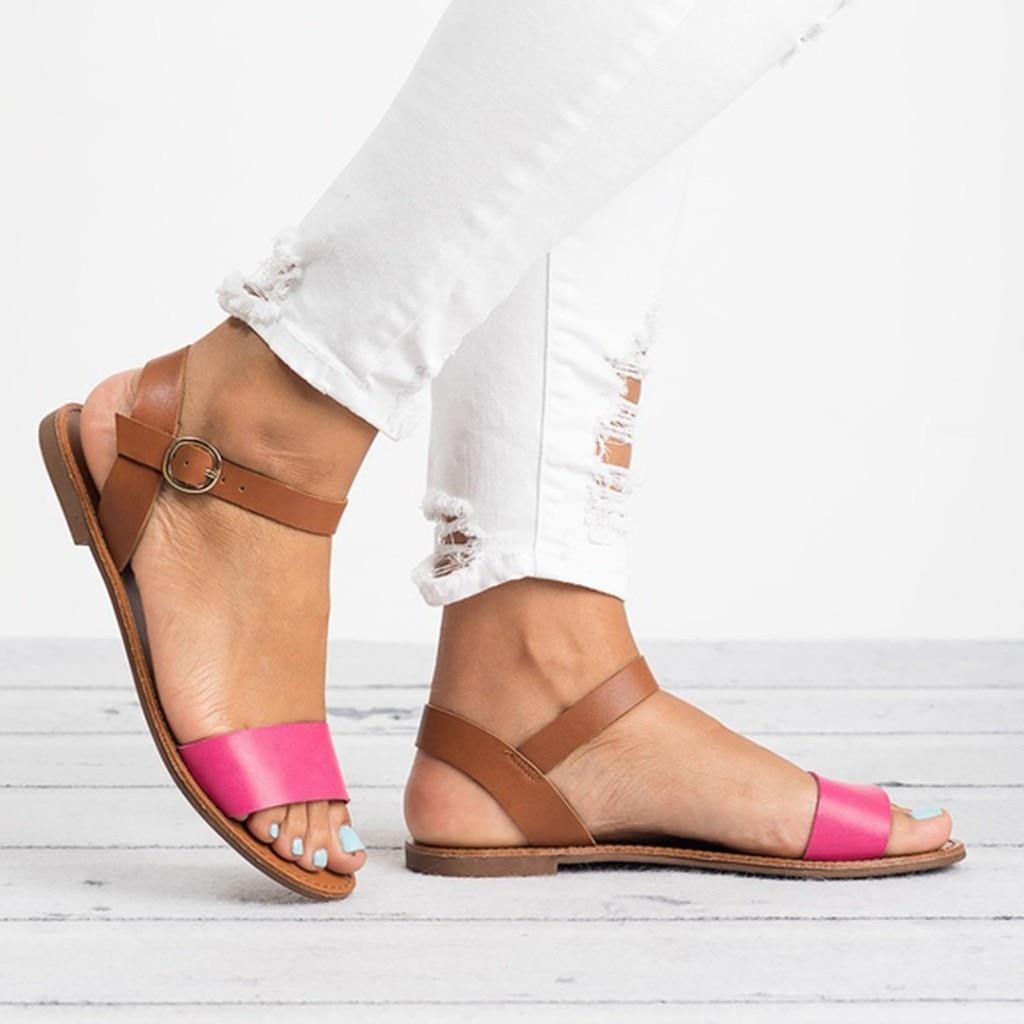 HTB1P20vQAzoK1RjSZFlq6yi4VXa8 SAGACE Women's Sandals Solid Color PU Leather Sandals Women Fashion Style Flat Summer Women Shoes Women Shoes 2019 Sandals 41018