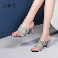 Shoes Summer Women Sandals Hollow Silver Slides Fish Mouth High Heel Sandals Slip on Shoes Heels