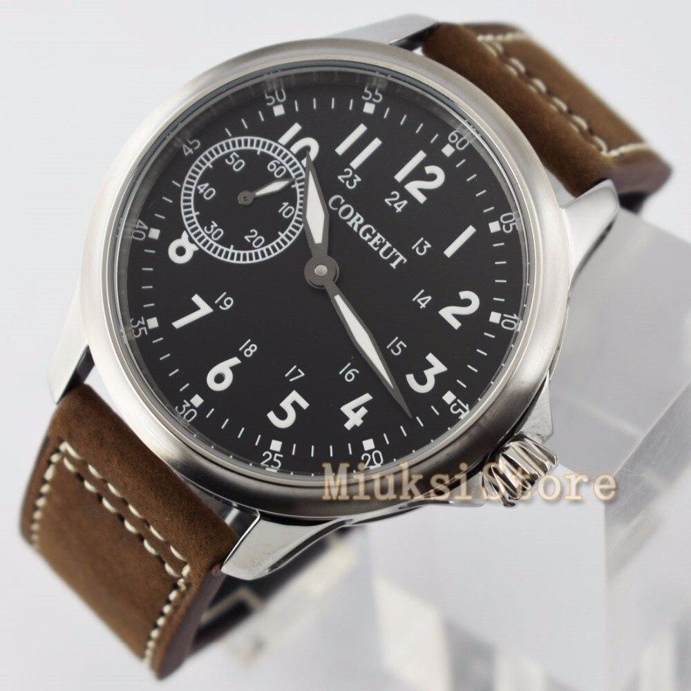 45mm corgeut men s watch hand winding 6497 mechanical watch fashion business luminous watch