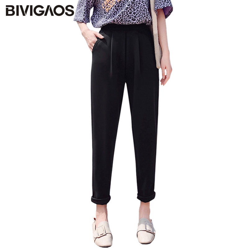 BIVIGAOS 2019 New Spring Summer Women Fashion Suit Pants Chaos Linen Casual Harem Pants OL Ladies Straight Carrot Pants Women
