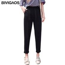 BIVIGAOS 2019 New Spring Summer Women Fashion Suit Pants Chaos Linen Casual