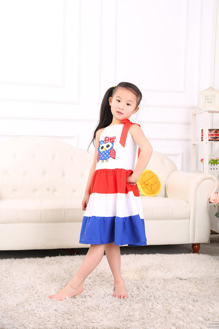 Patriotic Pillowcase Dress Red White Royal Blue Baby Girls Clothes