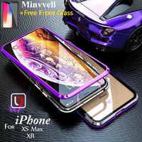 Caso di Vibrazione magnetica per il iphone XS Max XR X 6 6s Plus Vetro Temperato Telaio In Alluminio Magnete Adsorbimento Indietro cover per iPhone 8 7