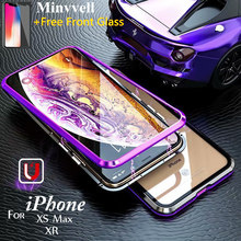 Magnetic Flip Case for iPhone XS Max XR X 6 6s Plus Tempered Glass Aluminum Frame Magnet Adsorption Back Cover for iPhone 8 7 magnetic adsorption case for iphone x xs max 10 8 7 6 s plus coque tempered glass magnet back cover for iphone xr xs max fundas