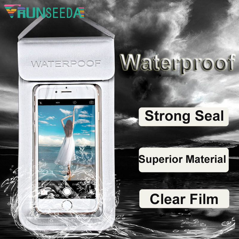 Runseeda High Quality Swimming Bag Durable TPU Universal Waterproof Mobile Phone Cover Case Strong Seal Cellphones Neck Pouch 32