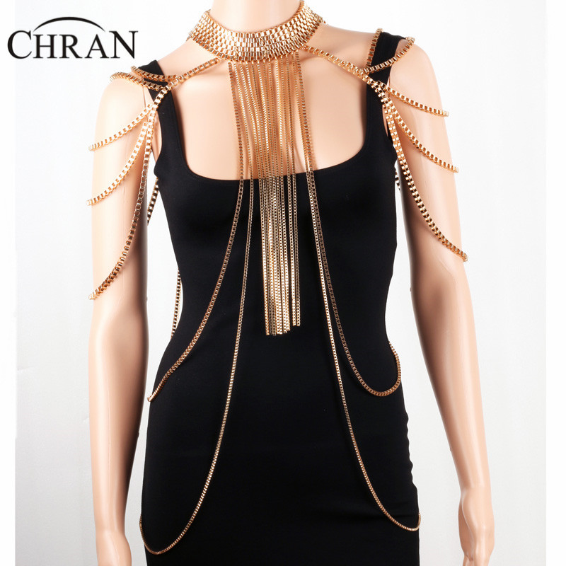 Chran Sexy Body Armor Big Scarf Pendant Ladies Bib Shoulder Choker Necklace Gold Silver Plated Harness Slave Box Chain Jewelry stylish ladies pendant silver plated necklace