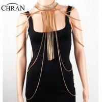 Chran Sexy Body Armor Big Scarf Pendant Ladies Bib Shoulder Choker Necklace Gold Silver Plated Harness Slave Box Chain Jewelry