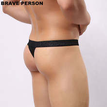 BRAVE PERSON Men Sexy Lace Transparent Personal Briefs Bikini G-string Thong Jocks Tanga Underwear Shorts Exotic T-back B1138