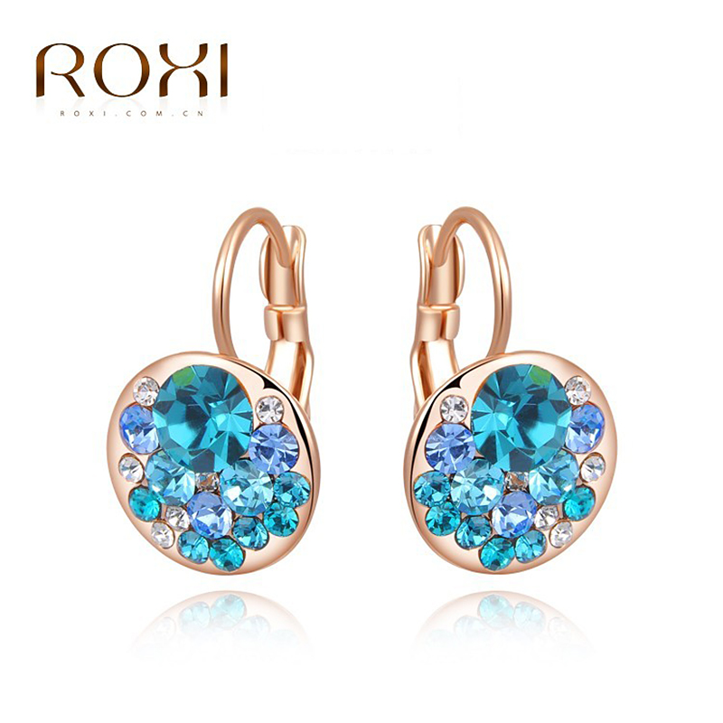ROXI Hot Blue Round Stone Earrings Fashion Jewelry Rose Gold Earrings For Woman Party Wedding Gift Silver Earrings oorbellen