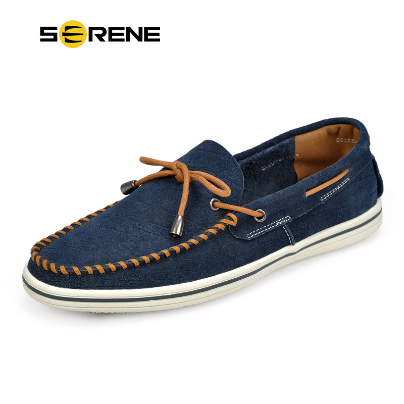 SERENE Suede Leather Men Shoes Casual Bean Shoes Men Shoelace Decorated Moccasins Slip-on Loafers Driving Shoes Gommino Shoe5168 brand summer casual men suede brathe slip on loafers driving shoes fahion boat shoe handmade leather moccasin shoes for men