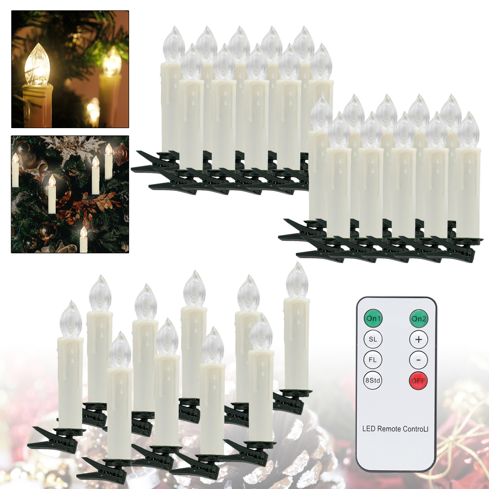 30PCS Xmas LED Candle Warm White Lighting Indoor Outdoor Decoration Candle Light Christmas Trees Birthday Wedding Parties