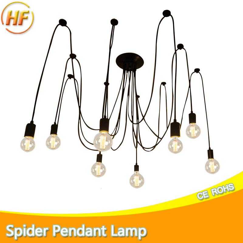 Modern Nordic Spider Pendant lights led bulb Multiple Adjustable Retro Pendant lamp Loft Classic Decorative Fixture Lighting loft antique retro spider chandelier art black diy e27 vintage adjustable edison bulb pendant lamp haning fixture lighting