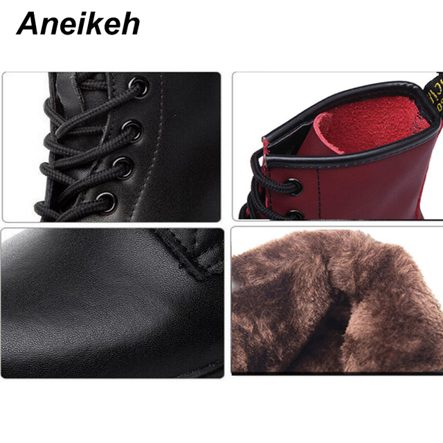Aneikeh Women Ankle Boots Shoes Woman 2018 Spring Fall Genuine Leather Lace Up Shoes Punk Plus Size 43 44 Riding, Equestr Boots 2