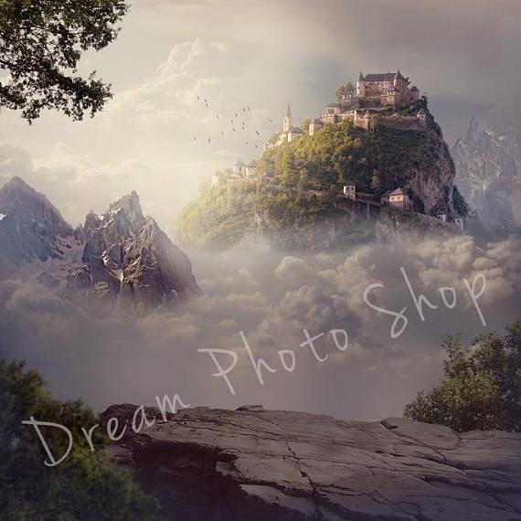 clouds kingdom medieval castle mountain tree backdrop Vinyl cloth High quality Computer print children kids background