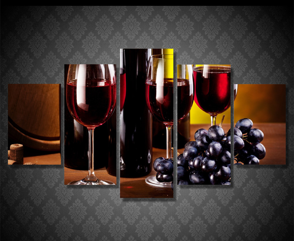 5 panel wall pictures canvas art hd printed artwork grape for Painting while drinking wine