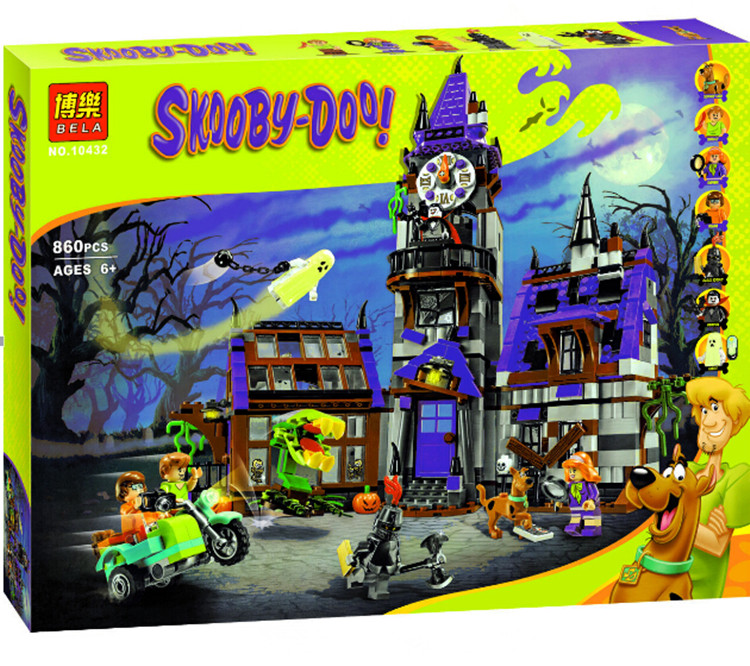 Pogo gifts Bela 10432 Scooby Doo Mysterious Ghost House Building Blocks Bricks Toys Compatible Legoe 10432 scooby doo mysterious ghost house 860pcs building block toys compatible legoingly 75904 blocks for children gift