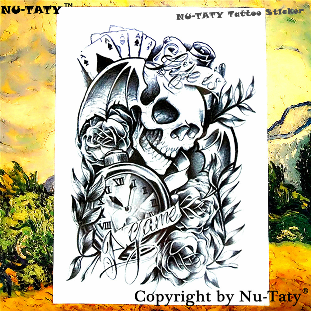 Nu-TATY Life is a Game Temporary Tattoo Body Art Flash Tattoo Stickers 21*15cm Waterproof Tatoo Styling Home Decor Wall Sticker