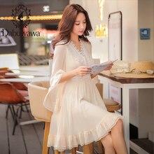 цены на Dabuwawa Spring V neck Ruffles Lace Chiffon Dress 2019 New Vintage Flare Sleeve Swing Midi Dress for Girls Women D18CDR060  в интернет-магазинах