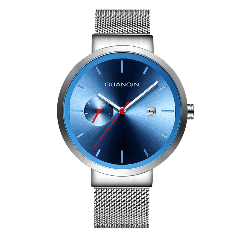 GUANQIN GS19107 watches men luxury brand Luminous Watch Stainless Steel Mesh Band Stylish Quartz Watches Calendar relojes hombreGUANQIN GS19107 watches men luxury brand Luminous Watch Stainless Steel Mesh Band Stylish Quartz Watches Calendar relojes hombre