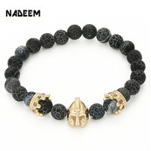 Drop Shipping Roman Knight Spartan Warrior Gladiator Helmet Bracelet Men Howlite Stone Bead Bracelet Mala Yoga Elastic Bracelet(China)