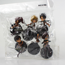 6Pcs/Set Attack on Titan Figure Mikasa Ackerman Eren Rivaille Armin arlert Sasha Blaus Hanji Zoe PVC Figures Toys 7cm