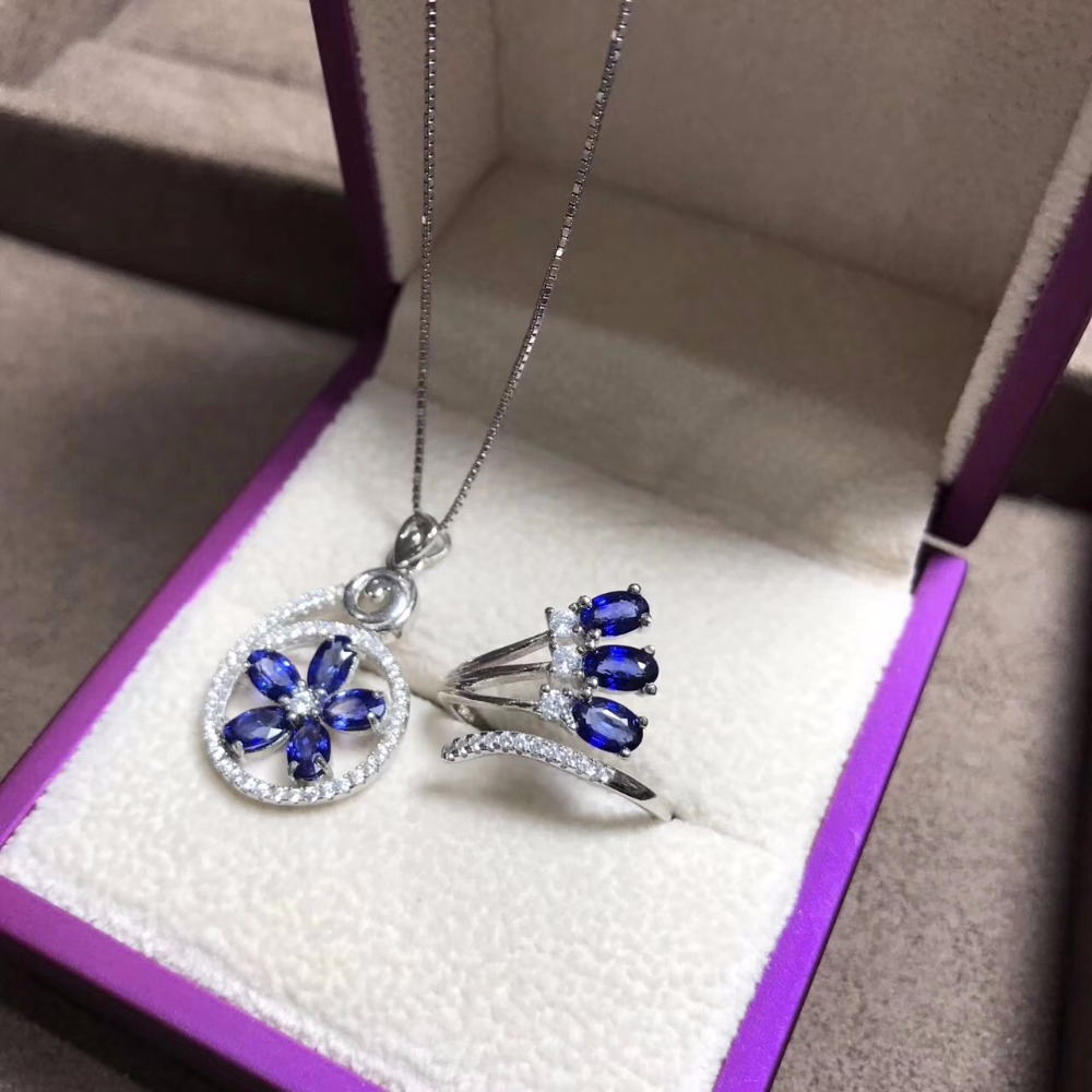 The latest style natural sapphire suit 925 silver personality ring necklace gem quality Australian sapphire