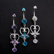 цены 1Pcs Body Piercing Jewelry  Stylish Alloy Heart-shaped Nail Inlay Zircon Dangle Belly Button Ring Bar Navel Rings