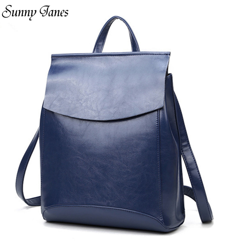 Sunny Janes Fashion Multiple Use Methods Backpacks Genuine Leather School Bags Cow Leather Backpacks Shoulder Bags