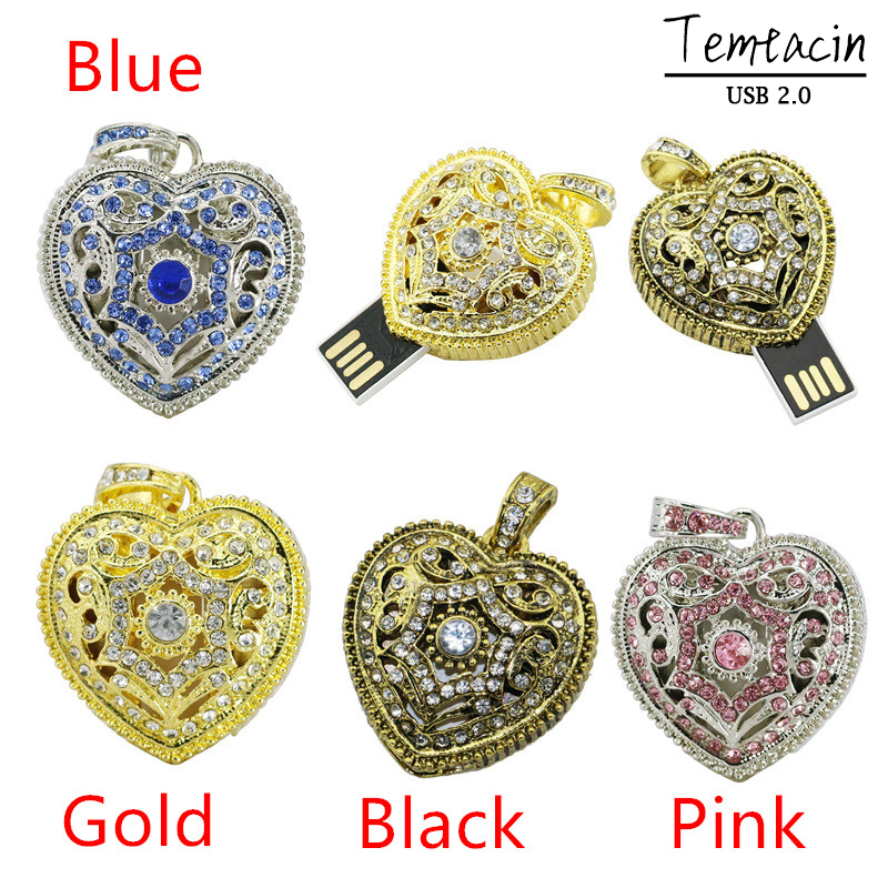 Pen Drive New Arrive Ms Gift Metal Crystal Jewellery Heart Love USB Flash Drives 8 GB 16 GB USB-drive USB-flashkaart