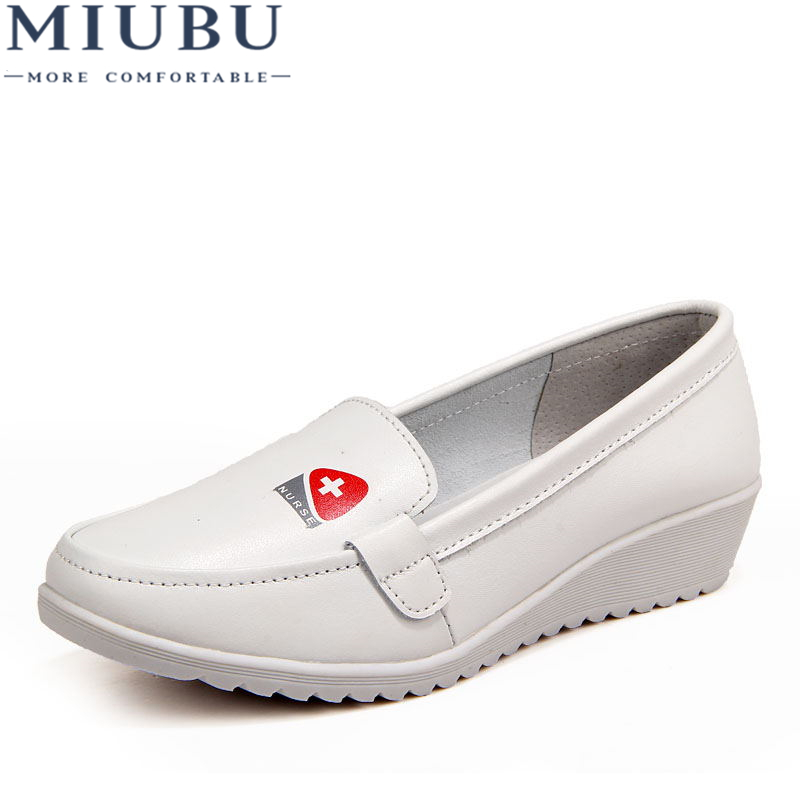 MIUBU Women Flats Shoes Genuine Leather Slip on Moccasin Shoes Ladies Boat Shoes Shallow Casual Loafers Nurse Flats Shoes in Women 39 s Flats from Shoes