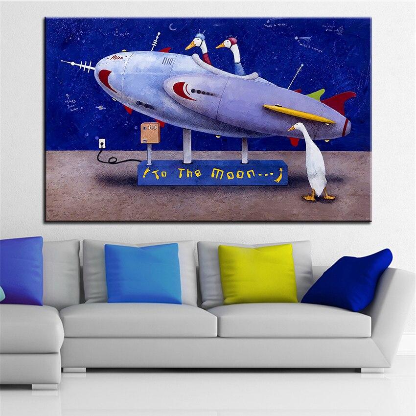 ٩( ‿ )۶Grande taille Impression Peinture À L huile la rocketeers Mur ... e406b74c5b3