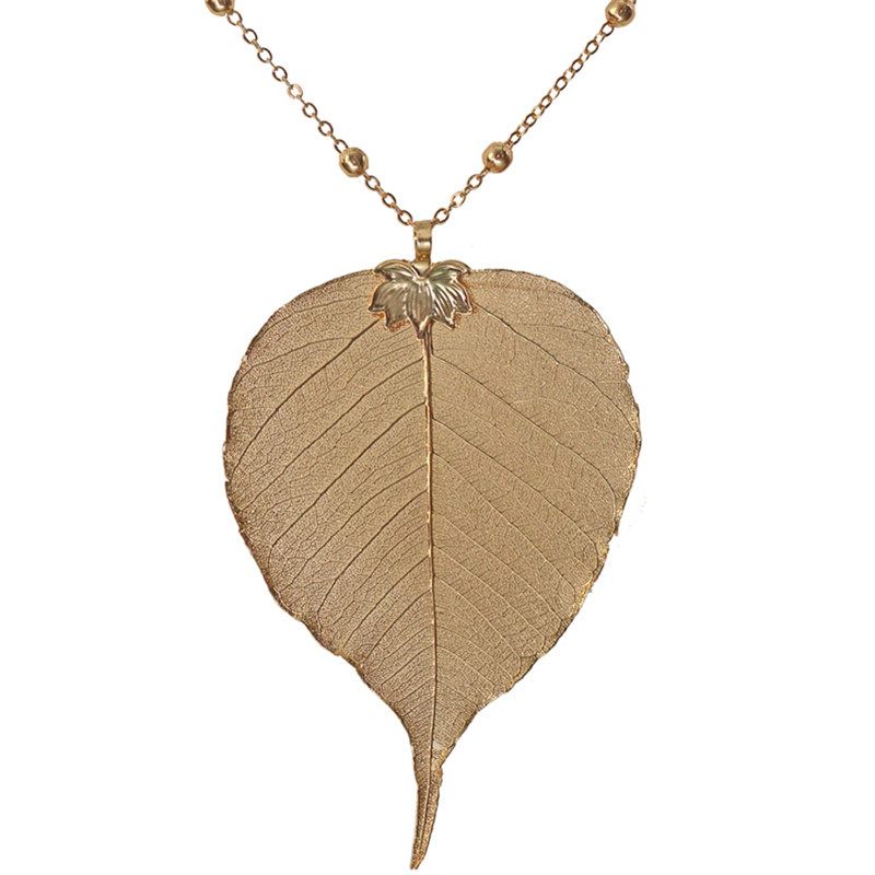 Bodhi Leaf Pendant Necklace Champagne Gold-color Natural Leaves Bohemian Jewelry Fashion Cloth Accessories 2017 Spring New