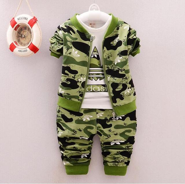 New  3 pieces Toddler Boys clothes spring 2017 New Fashion Camouflage Sport Tracksuits Fall Kids Boys Clothing Set Hooded Coat