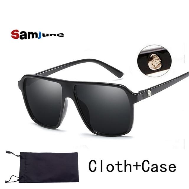eded8f4186a Brand retro Steampunk frame SKULL Square male logo Sunglasses Men All Black  oversized big sun Glasses