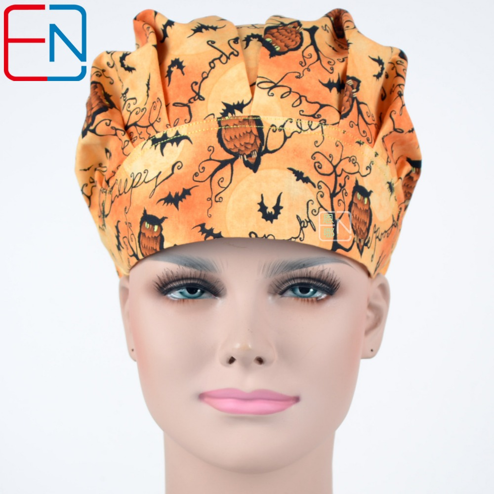 Hennar Womens Scrub Caps Operating Room Hat Surgical Caps For Women With Sweatband Cotton Pet Doctor Medical Caps Owls Printing