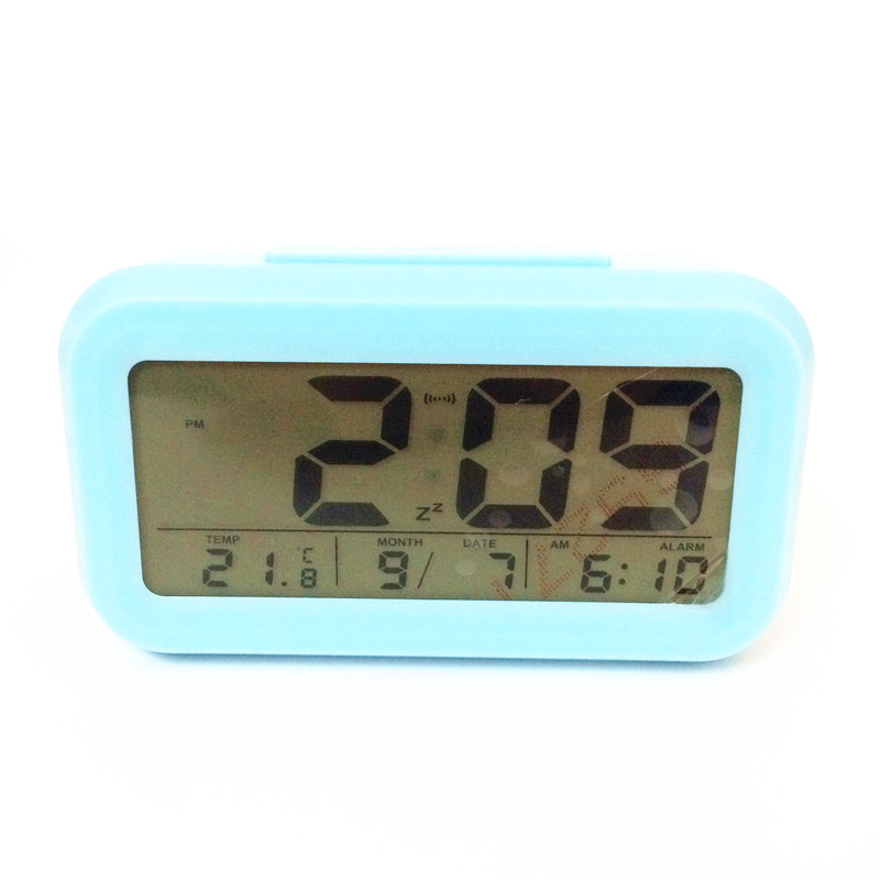 2018 Hot! Led snooze alarm clocks temperature timer with calendar backlight LED display digital clock 3019ablue-Clock