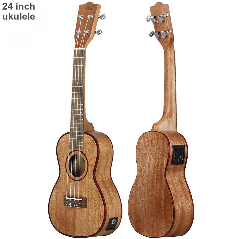 Ukelele electroacústico de 24 pulgadas, concha de abulón, borde 18, traste, cuatro cuerdas, guitarra hawaiana con pastilla EQ incorporada