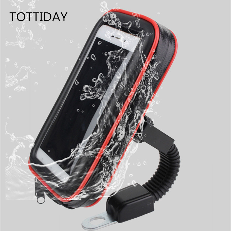 Motorcycle Phone Holder Stand 360 Rotating E-bike GPS Moto Mobile Case Support Shockproof Cover Waterproof Bag For Smartphones