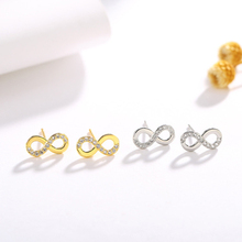 KOFSAC Fashion 925 Sterling Silver Stud Earrings For Lady Jewelry Shining Zircon 8-Shaped Earring Women Engagement Accessories цена
