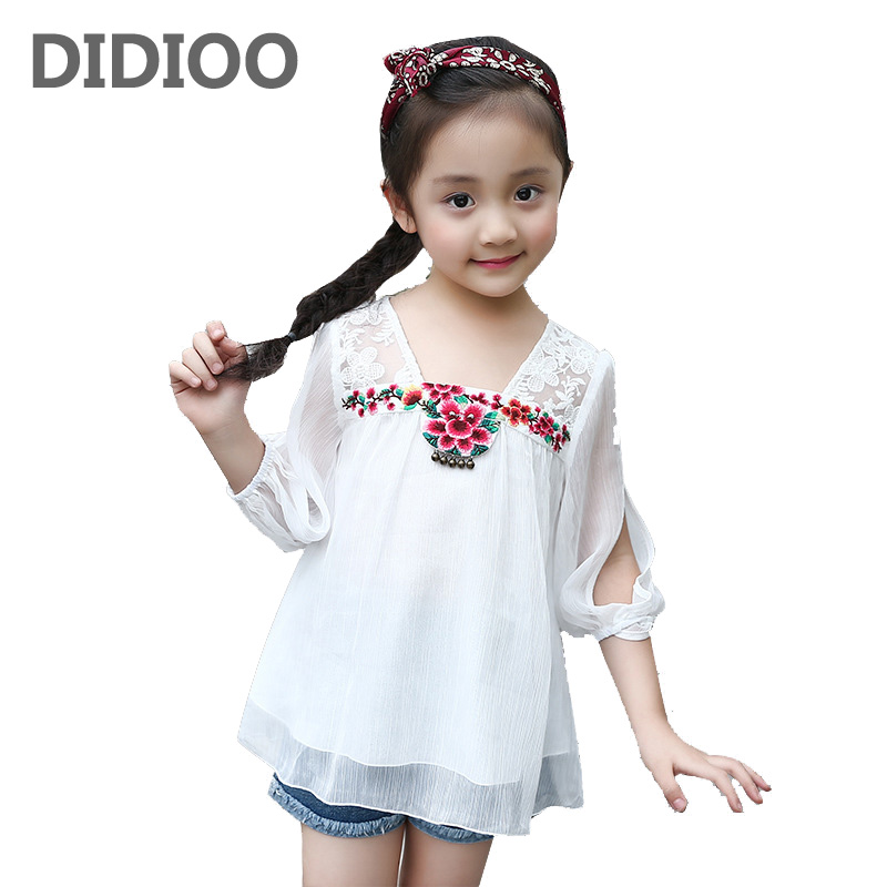 Baby Girls Blouses Chiffon Embroidered T-Shirts For Girls Children Clothing Lace Kids Tees Summer Girls Tops 2 4 6 8 10 12Years 2017 summer girls sets clothes short sleeve chiffon baby girls sets for kids big girls t shirts and stripe shorts children suits