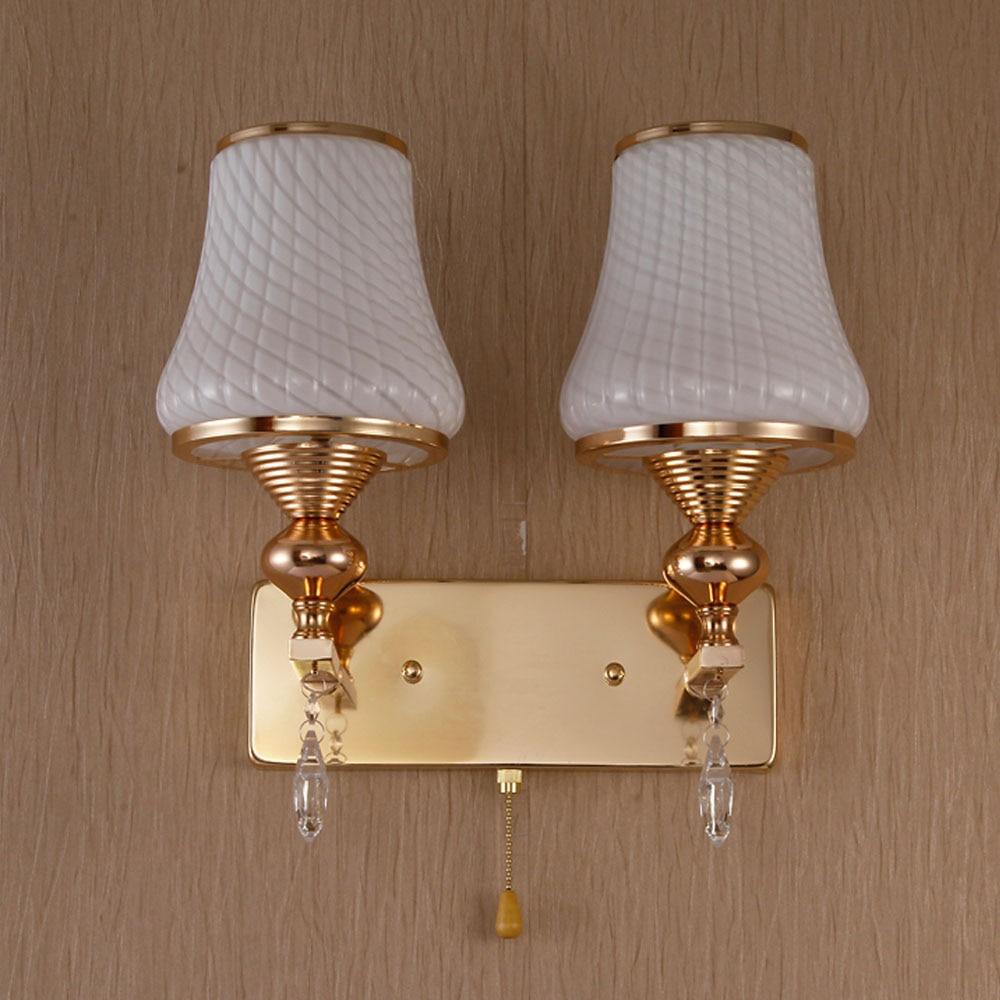 LED Crystal Wall Sconce E27 Loft Home Lighting  Aisle Hotel Bedroom 110V- 220V Wall Lamp Vintage Single Double Head 7 Wall Lamps угольник обжимной с переходом на вн р 32х1