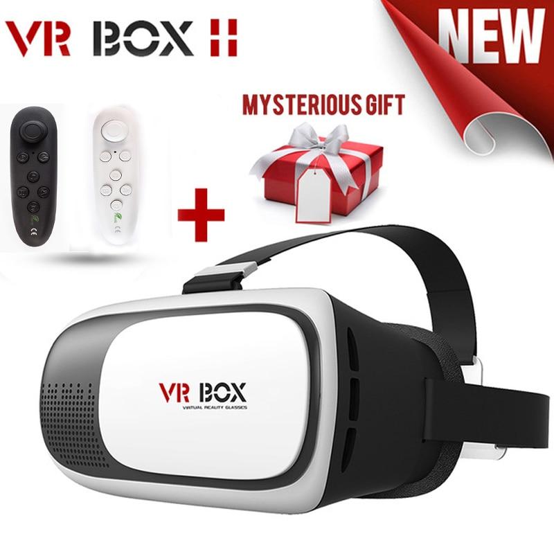 Couro CAIXA 2 VR VR Óculos 3D Óculos Óculos de Realidade Virtual VR fone de Ouvido Para O Google papelão Smartphone + Bluetooth Controlle