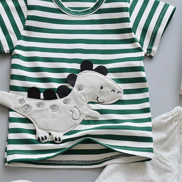 Newborn Cartoon Striped Clothes Suit for Baby Boys 2Pcs 4