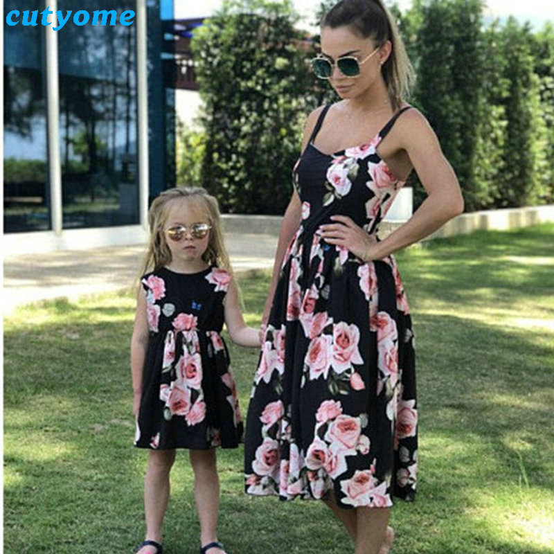 adsfay.com Family-Look-Women-Matching-Mother-And-Daughter-Clothes-Sleeveless-Floral-Dress-For-Mommy-And-Me-Kids
