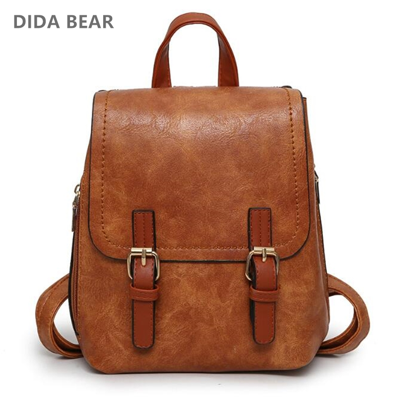 DIDA BEAR Women Leather Backpacks School bags for Teenage Girls Travel Fashion Rucksack Small Backpack Ladies Bagpack Mochila simple designer small backpack women white and black travel pu leather backpacks ladies fashion female rucksack school bags