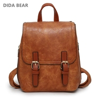 DIDA BEAR Women Leather Backpacks School Bags For Teenage Girls Travel Fashion Rucksack Small Backpack Ladies