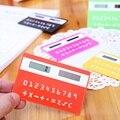 1 pc papelaria calculadora portátil mini handheld Cartão ultra-fino calculadora cartão de Energia Solar Pequeno Fino Calculadora de Bolso de Viagem