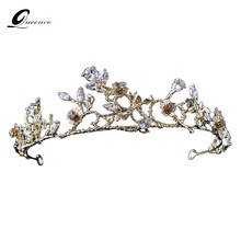 Bridal Tiara Gold Crown Wedding Hair Accessories Brand Zircon Head Accessory Hair Jewelry Women Headpiece Diadem Gift For Girls(China)