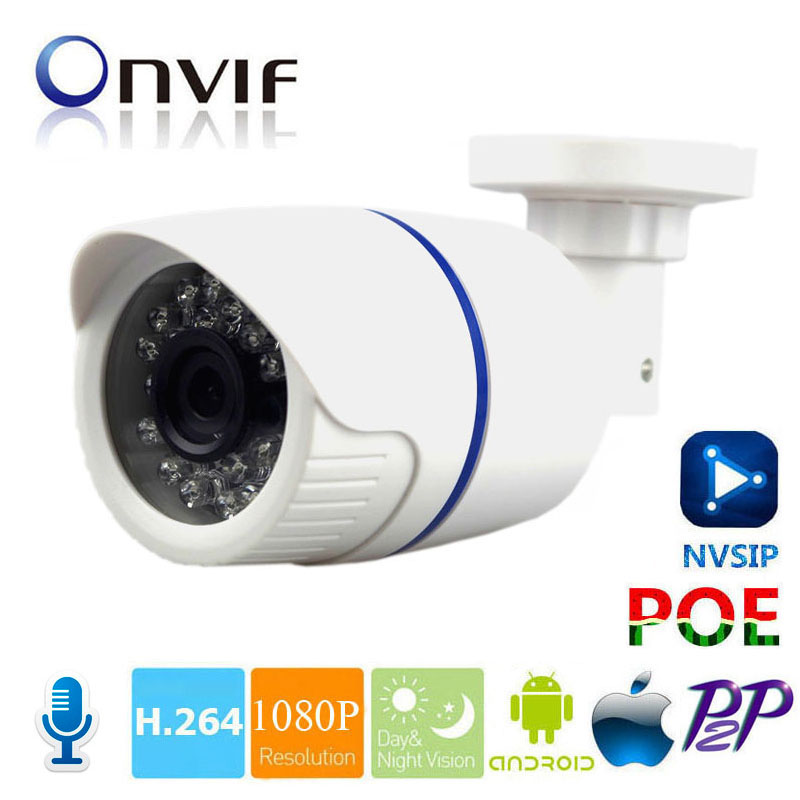 H.264 2MP Security IP Camera Outdoor CCTV Full HD 720P 1080P 2 Megapixel Bullet Camera IP POE With Audio IR Cut ONVIF 24PCS LED bullet hd 4mp 3mp ip camera onivf outdoor poe cctv security camera ir night h 265 h 264 cctv surveillance camera xmeye p2p view